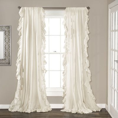 House of Hampton Eton Curtain Panels Color Ivory Master Bedroom