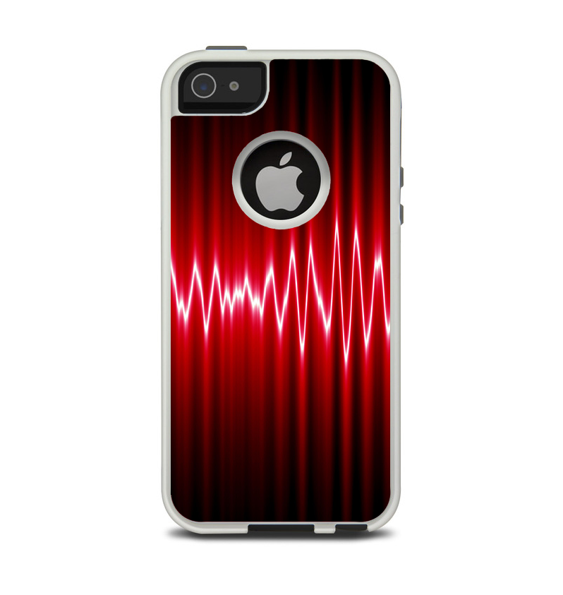 The Glowing Red Wiggly Line Apple iPhone 5-5s Otterbox Commuter Case Skin Set