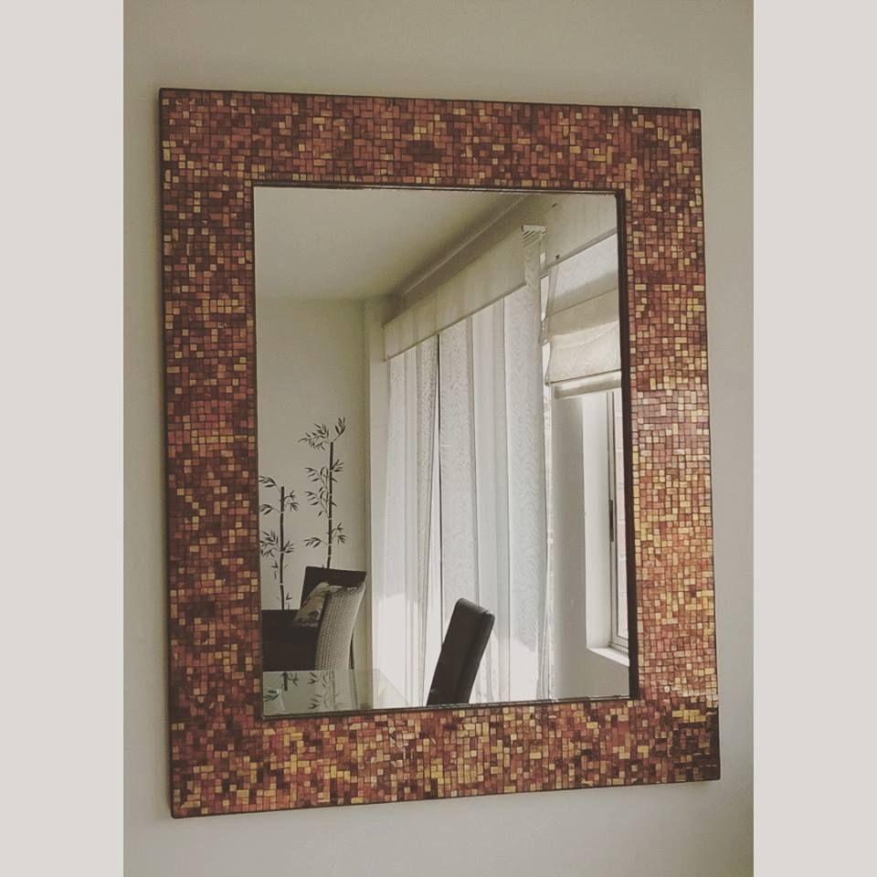 Espejo en Mosaico 1m x 1.30 m Base de Madera