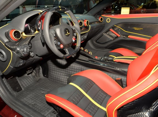 Ferrari F12 Berlinetta Red Yellow And Black Interior Carbon Fiber Door  Panels