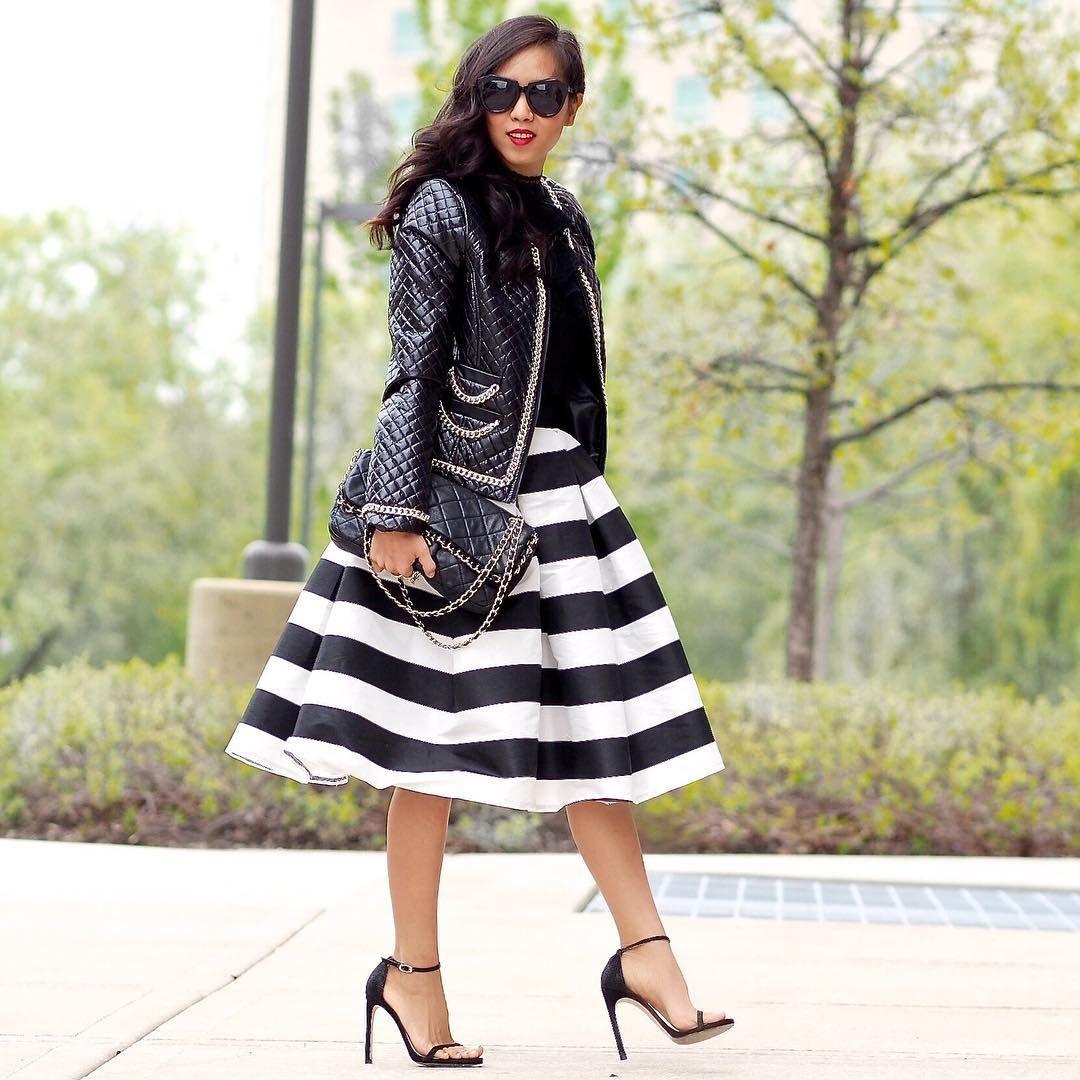 Black and White Striped Midi Skirt | via That Girl Gick