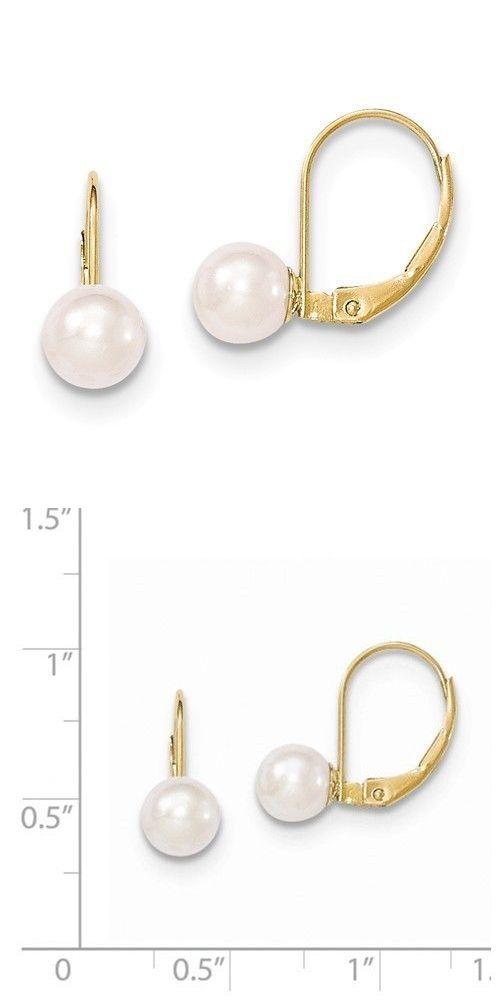 Pearl 6 7Mm White Akoya Pearl Leverback Earrings In 14K