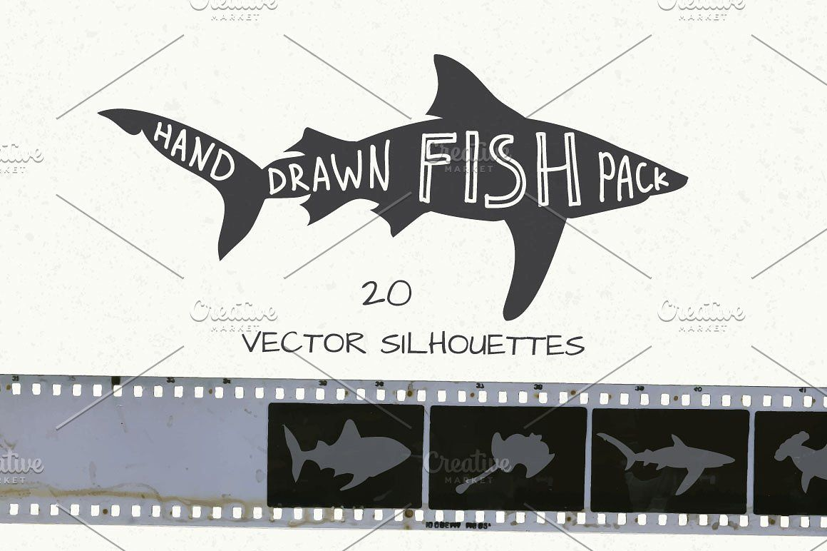 Hand Drawn Fish Pack Drawn Fish How To Draw Hands Fish Silhouette