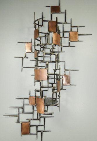 Large Welded Metal Wall Sculpturecandle Holder Copper By Autodor 160 00 Metal Walls Metal Tree Wall Art Metal Wall Sculpture