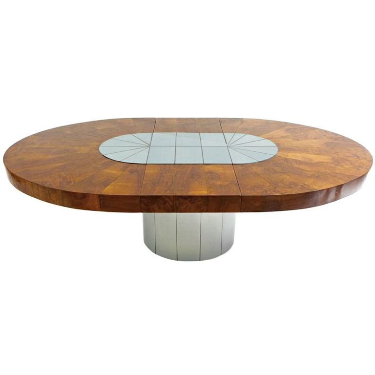 Striking Satin Chrome Wood Oval Dining Table By Paul Evans