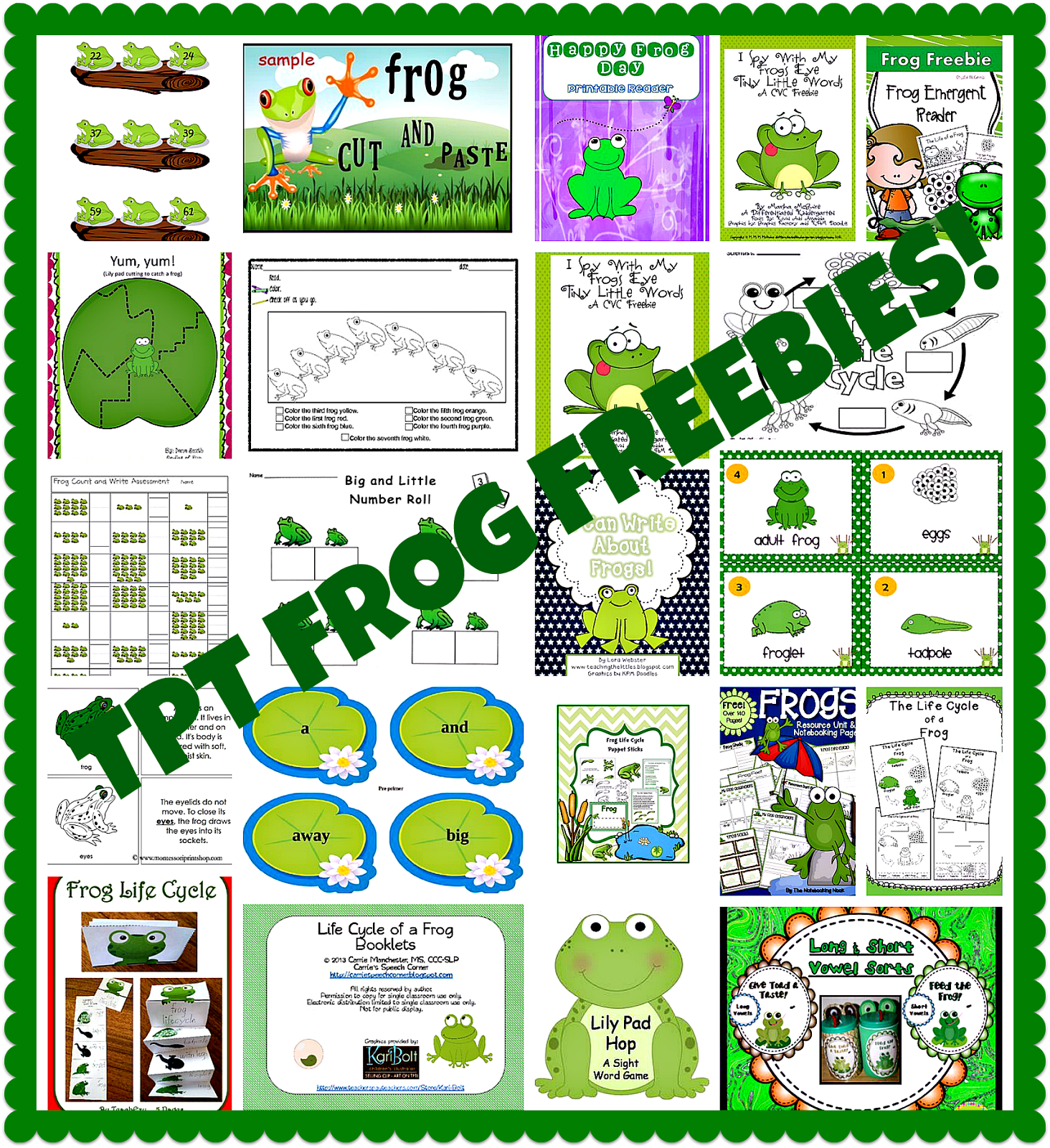 frogs and lots of frog freebies by carolyn from kindergarten