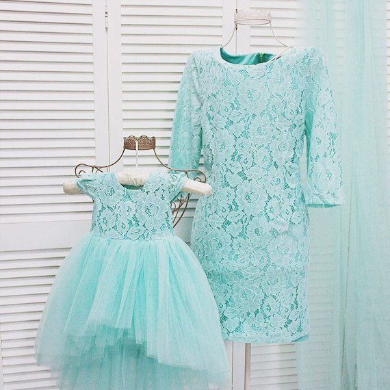 309697eb0c Mint Mother daughter matching tutu lace dress, Mini dresses for Mom and baby,  girls party dress, Mommy and Me prom birthday dress