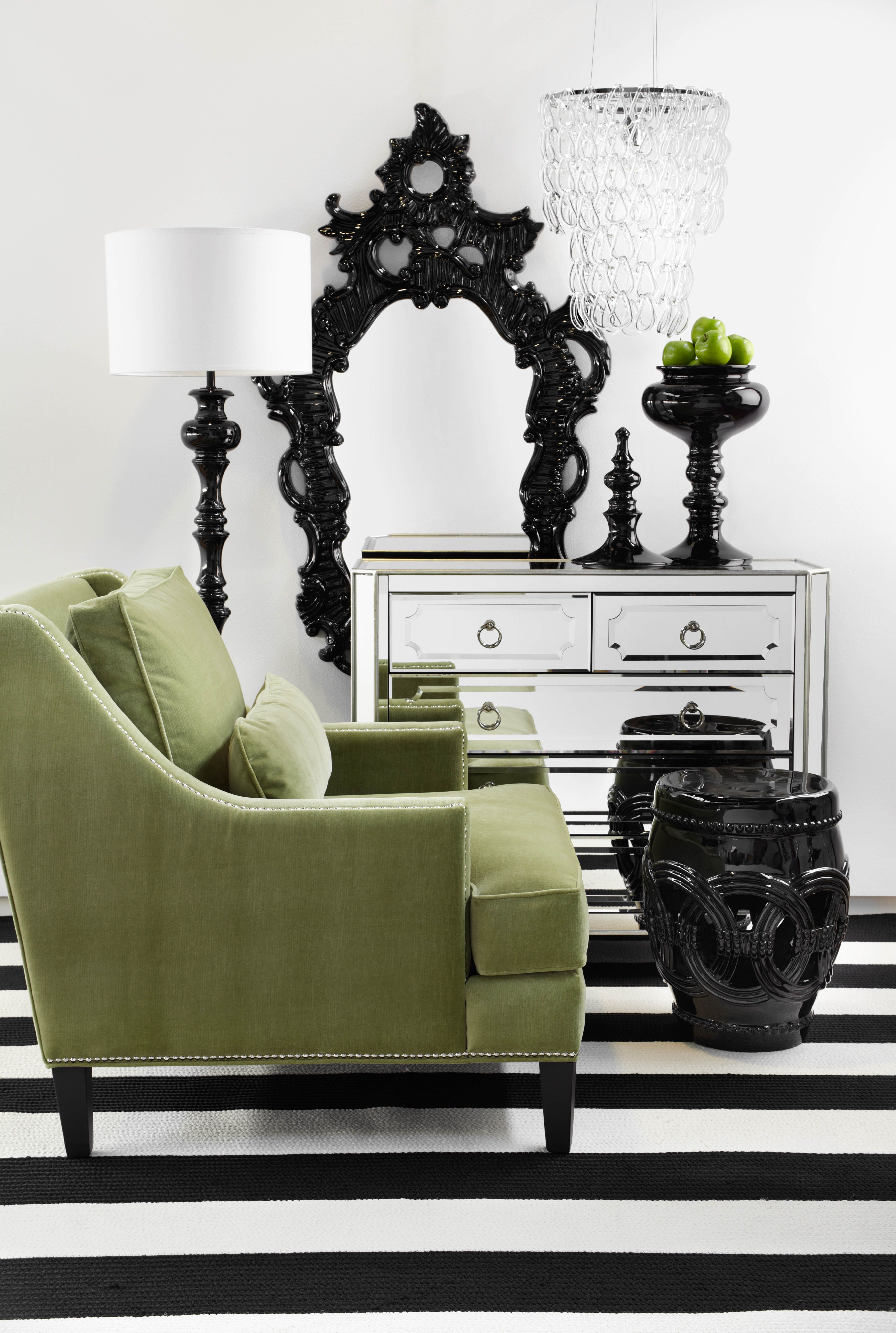 A Splash Of Apple Green To A Fresh Black And White Room Is An Electrifying Color Combination Home Decor Black And White Living Room Living Room White
