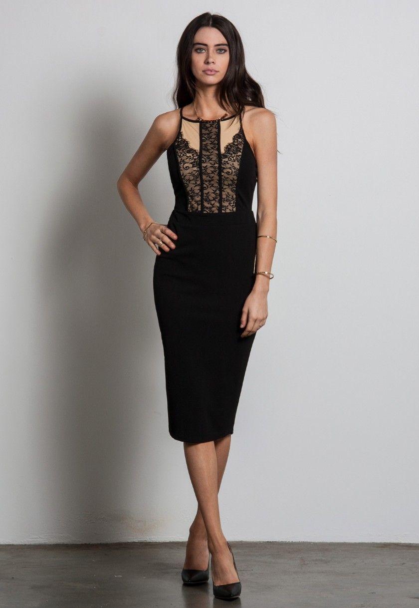 Lace dress bodycon  LACE PANEL MIDI DRESS  DressesJumpsuits  Pinterest  Black