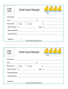 Daycare Receipt Child Care Services Starting A Daycare Daycare Forms