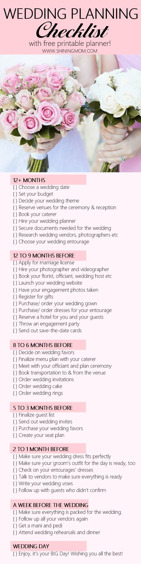 Free Printable Wedding Planner With Checklist  Free Printable