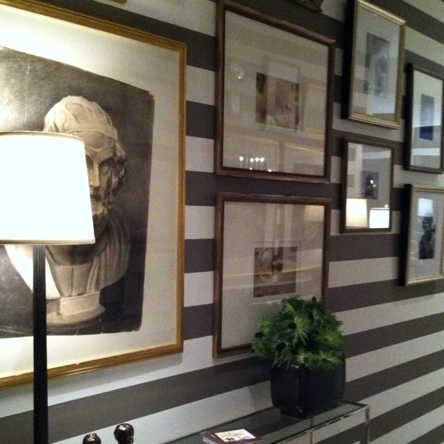 Entry gallery wall design by Amy Morris for the High Style High Rise Tour in Atlanta. #stripes