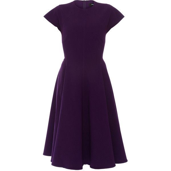 Paule Ka Purple Crepe Dress 1 225 Ils Liked On Polyvore Featuring Dresses Purple Stretchy Dres Short Cap Sleeve Dress Round Neckline Dress Stretchy Dress