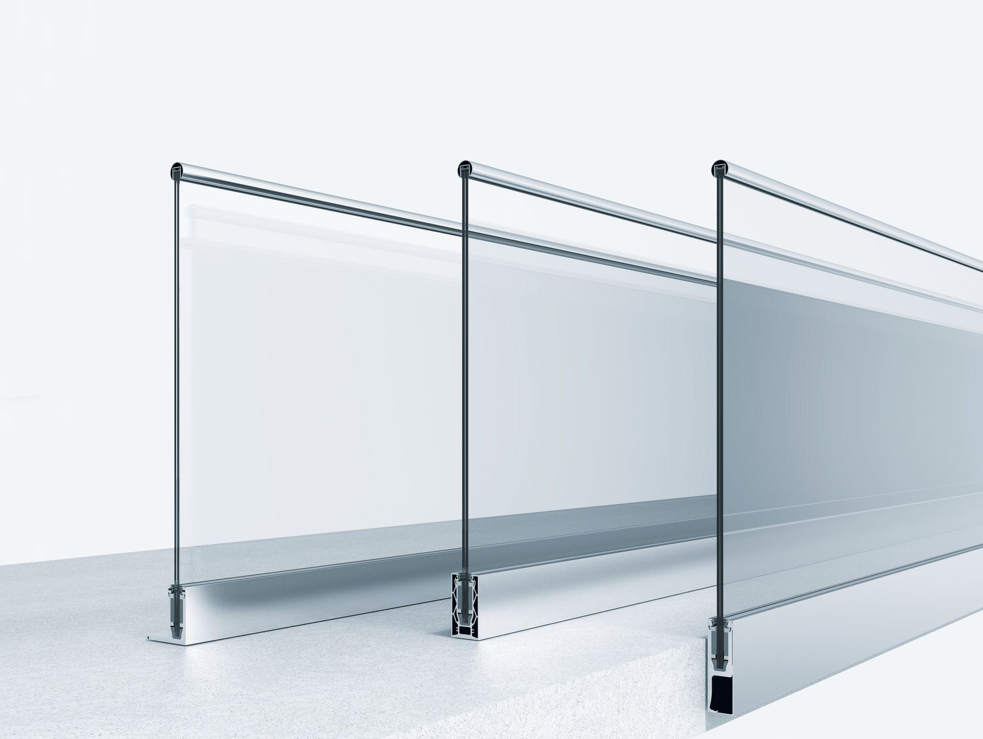 Outdoor railing / metal / glass panel / for balcony