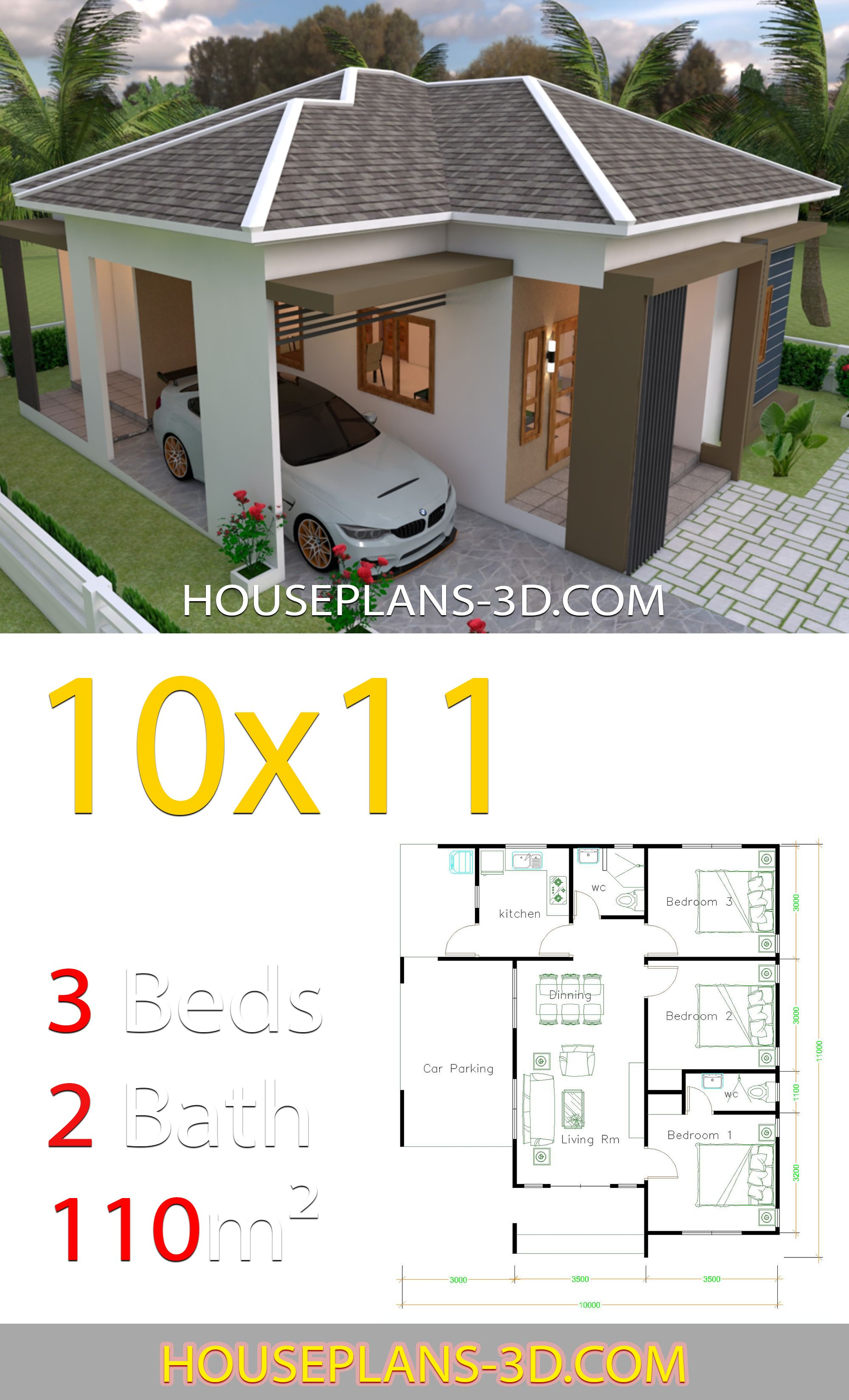 House Design 10x11 With 3 Bedrooms Hip Tiles House Plans 3d In 2020 Simple House Design House Construction Plan House Plans