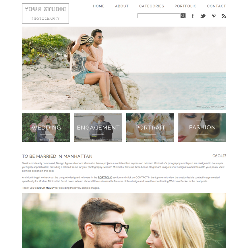 Website templates for modern photographers. #prophoto #designaglow ...