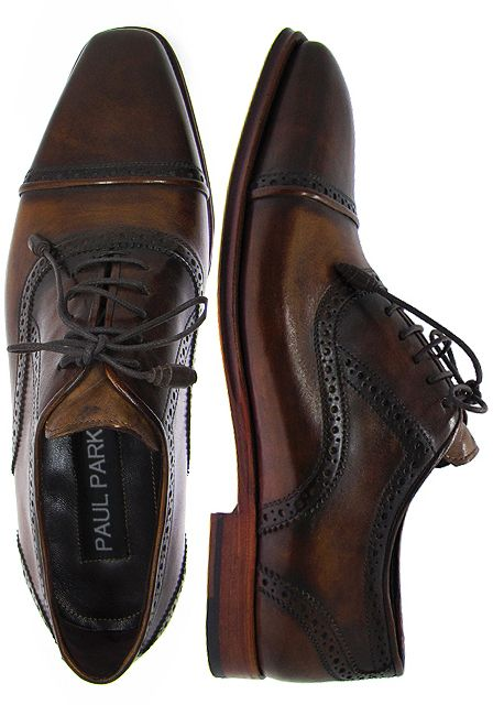 c41f5d61e770 PAUL PARKMAN ® Cap Toe Oxford Shoes For Men - Hand Burnished Brown & Tobacco  Leather Upper with Brown Leather Sole