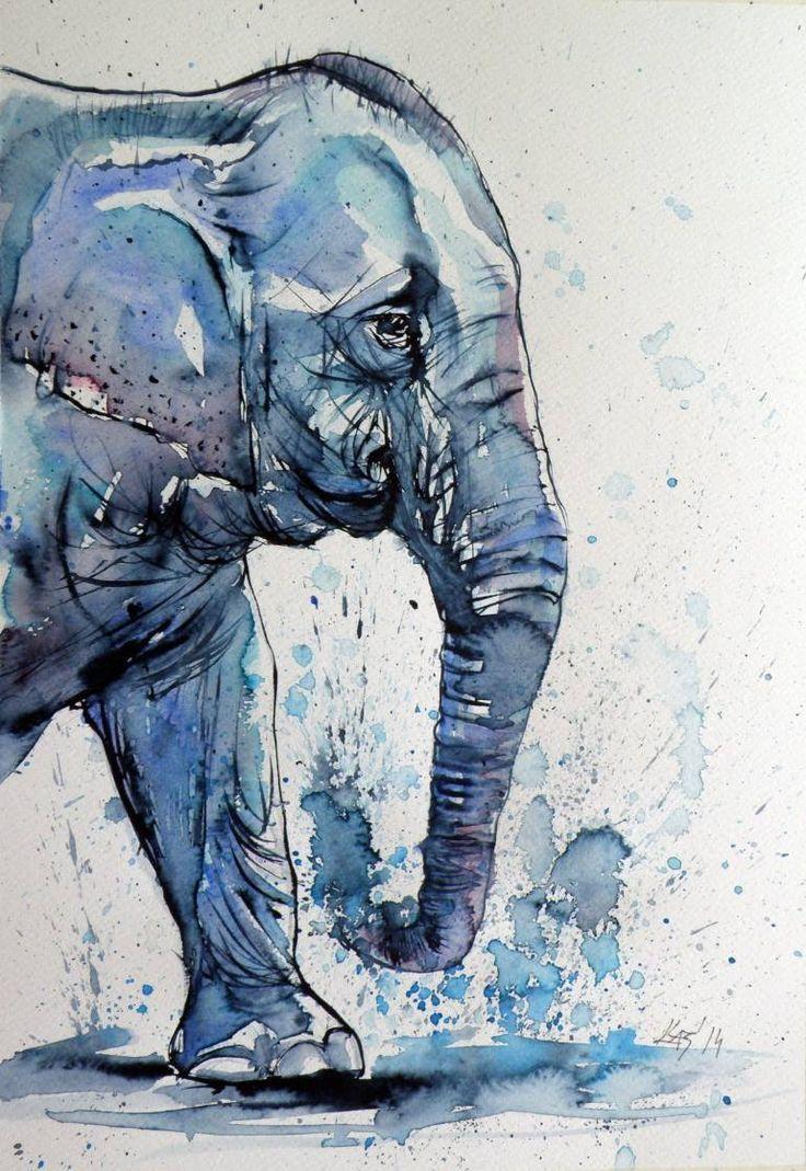 Elephant Watercolor Elephant Art Art