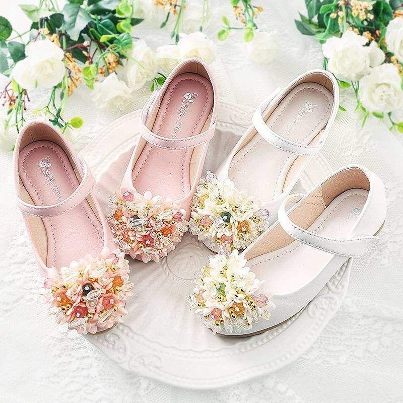 New Girls Kids Youth Dress Shoes Ivory White Flats Wedding Flower Wedding Bow