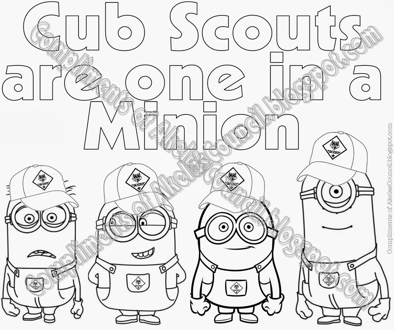Cub Scout Minions PRINTABLE Coloring Page from Despicable Me - Great ...