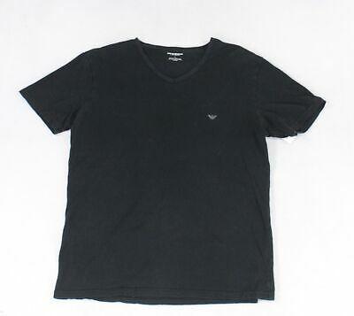 (eBay Sponsored) Emporio Armani Mens T-Shirt Black Size Large L V Neck Short Sleeve $49- #058