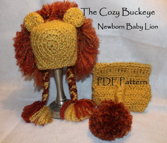 7e6f340bd82bf4 Instant Download Crochet Pattern - Lion Hat & Diaper Cover - Newborn Prop - Animal  Character