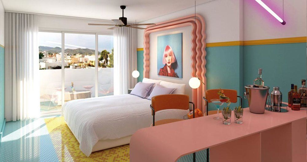 Paradiso Ibiza Art hotel (Art deco hotel with a pink pool) - via GirlyGirl Magazine