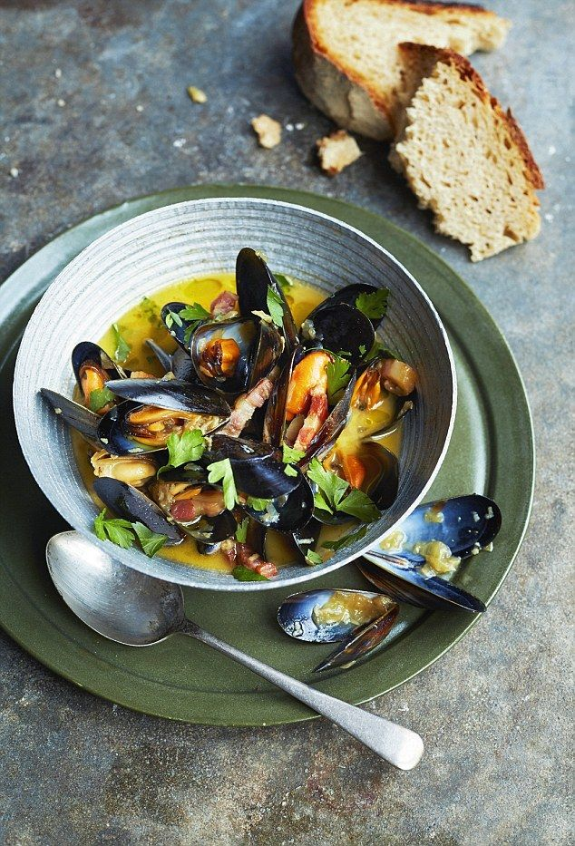mussels cooked in ale and bacon get recipe here http www dailymail co uk femail food article 3454885 tom s seasonal specials mussels cooked ale bacon