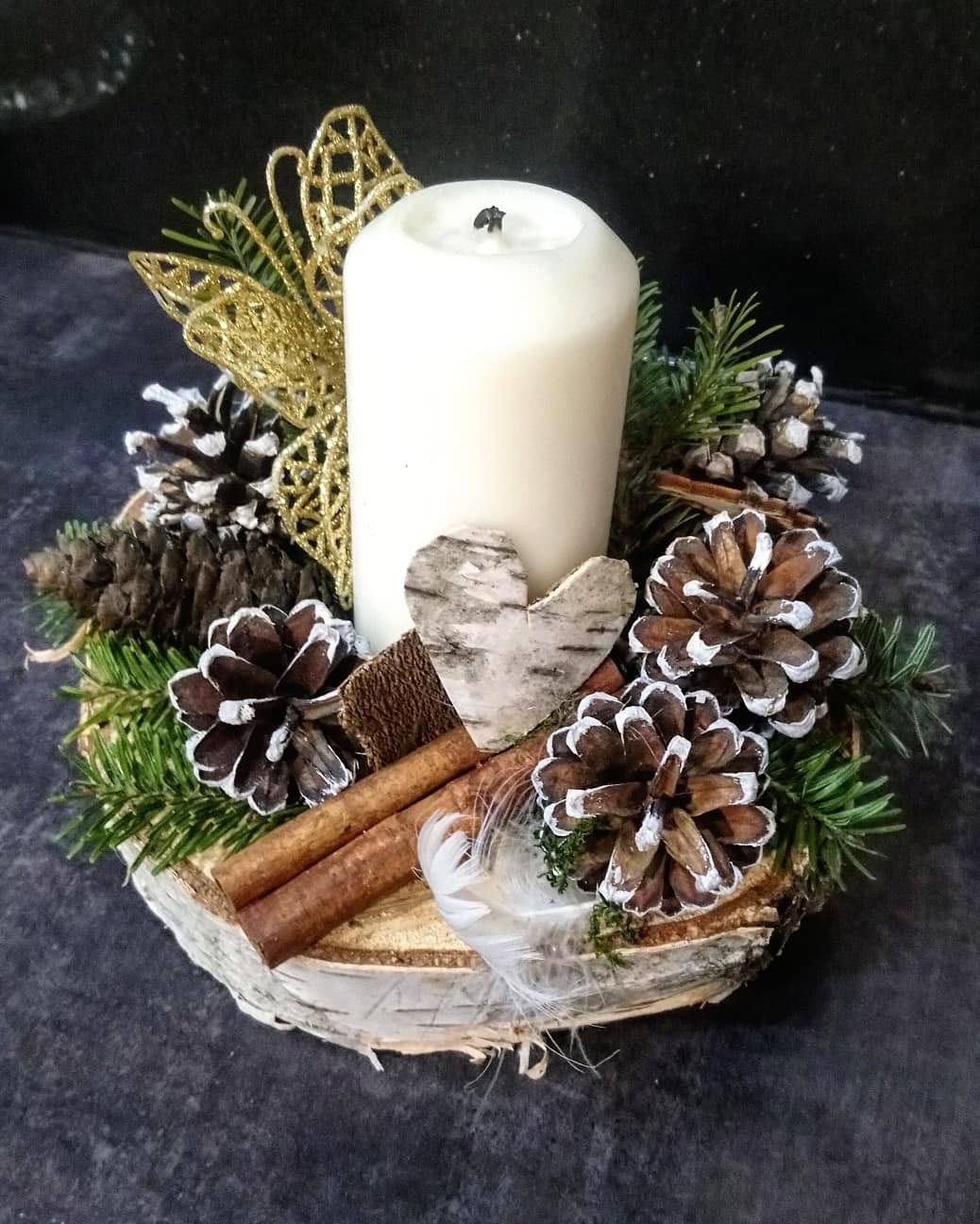 I Love Using Natural Materials For My Craft In 2020 Christmas Decorations Decor Pillar Candles