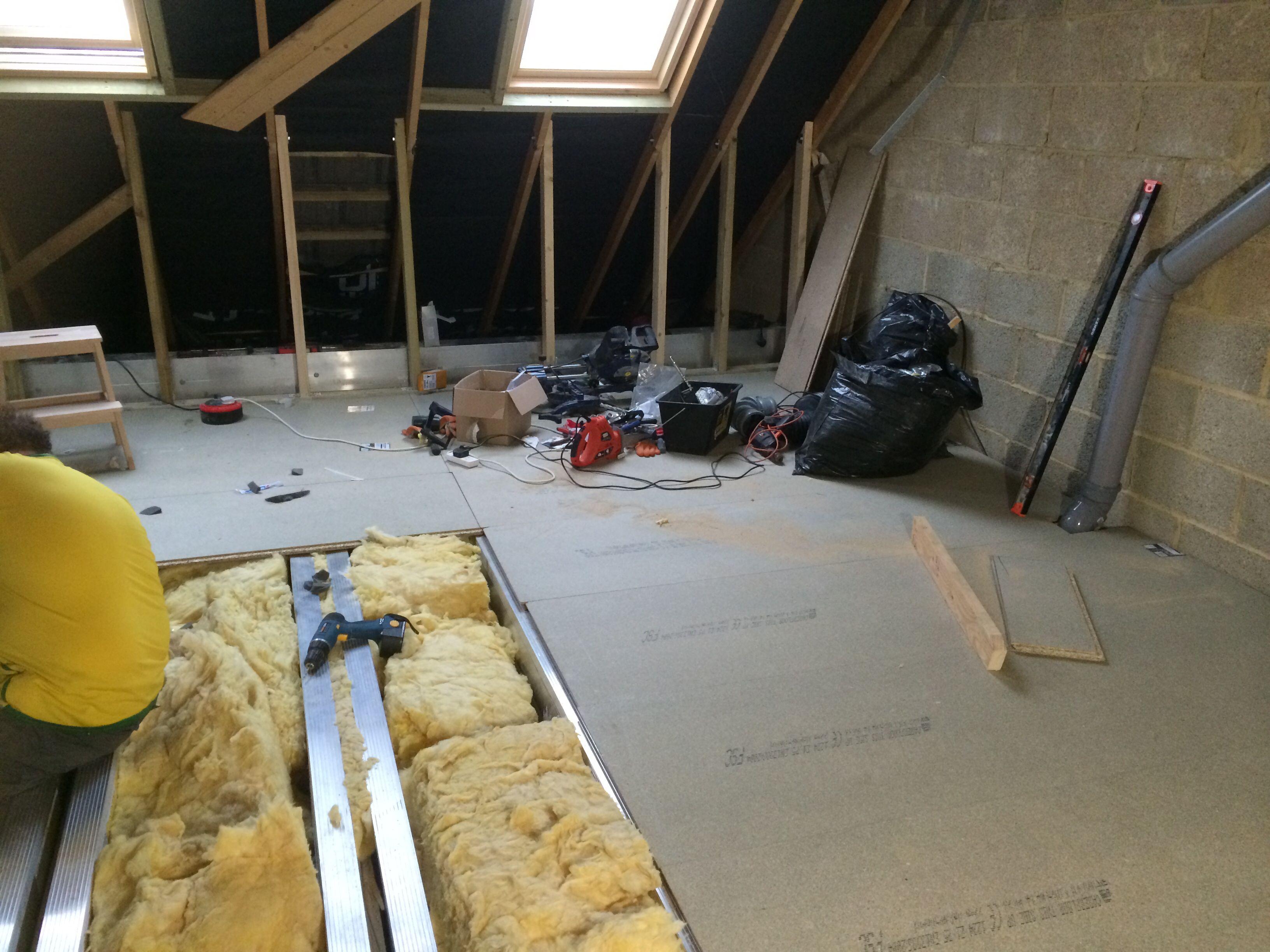 Floor boards going down :-) | Zolder