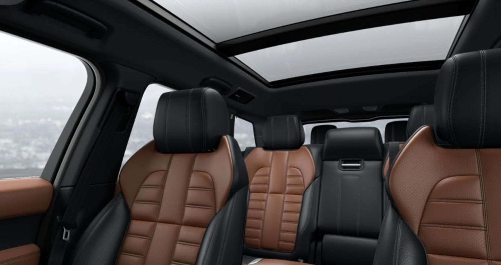 Interior back view of 2014 Range Rover Sport