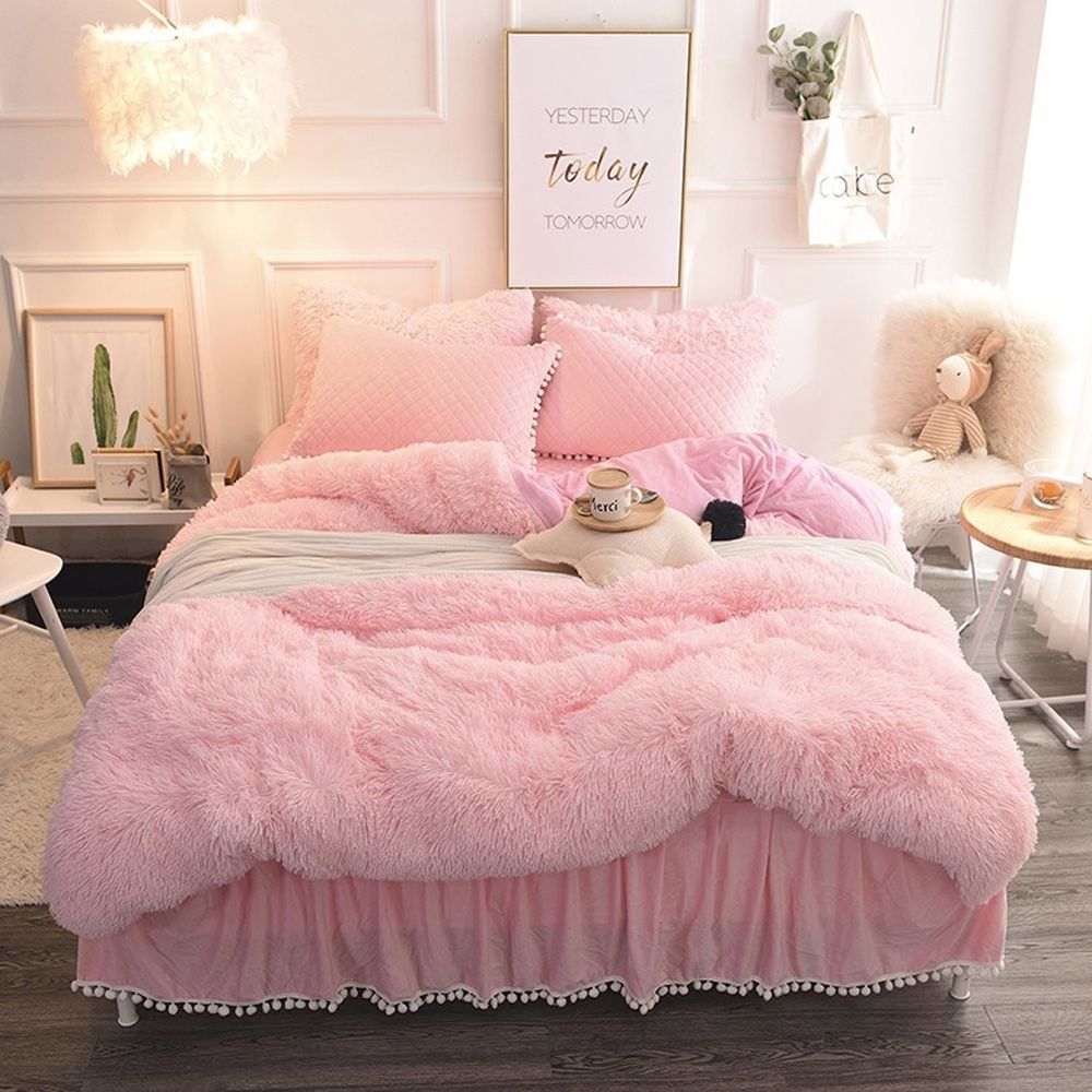 Pink Plush Luxury Shaggy Faux Fur Bed Duvet Cover 2 Pompoms 3 Pc Set King Duvet Pink Plush King Pink Bedroom Decor Pink Bedroom Design Girl Bedroom Designs