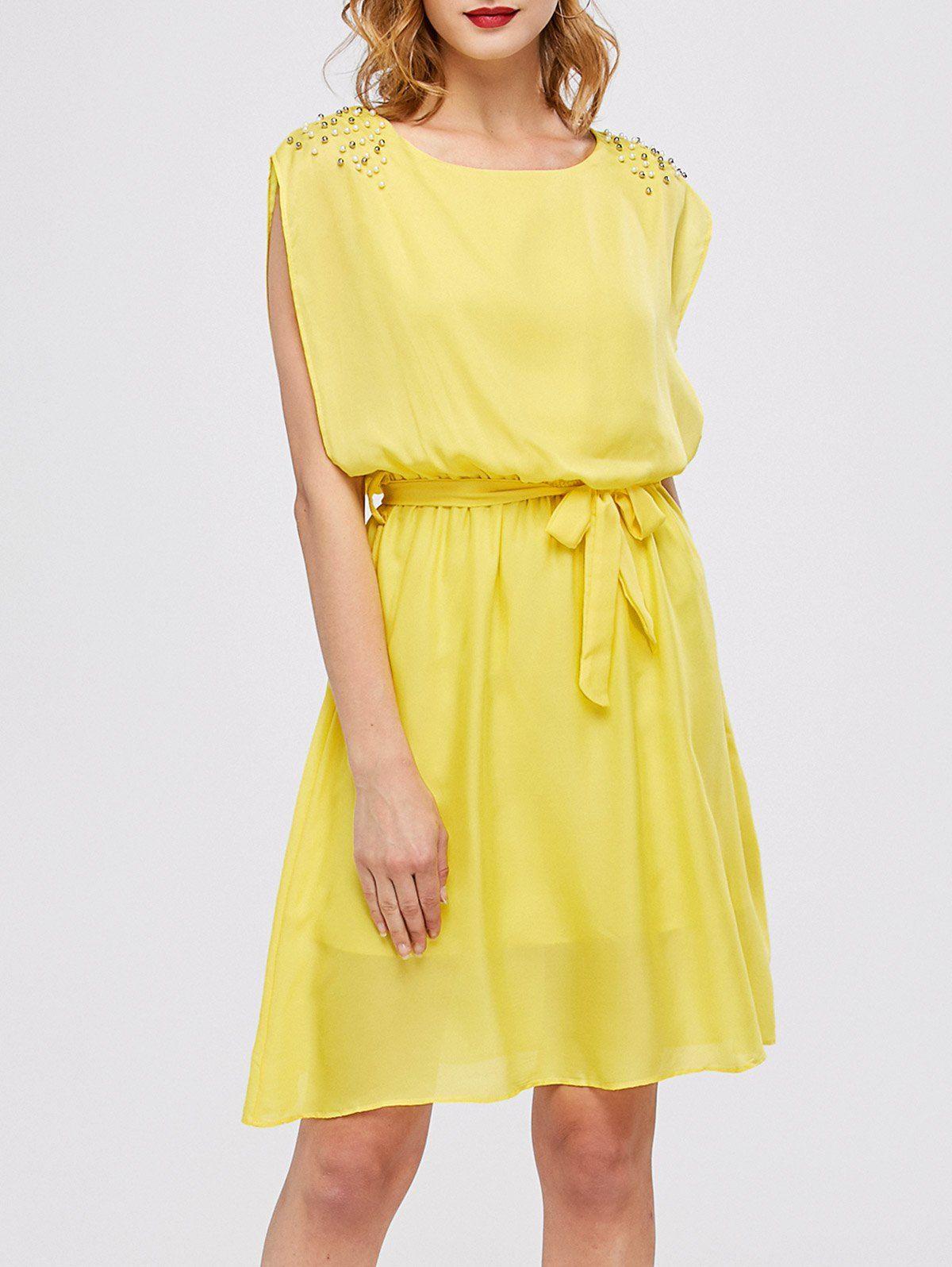 High waist beaded mini chiffon dress yellow dress chiffon dress