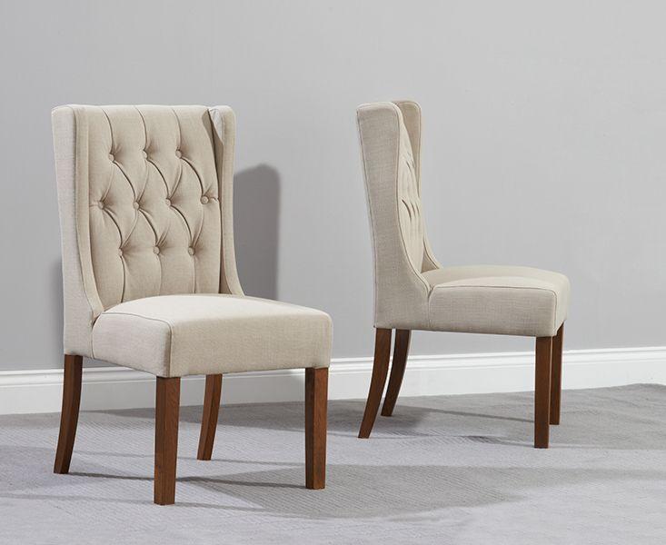 Safia Beige Fabric Dark Oak Leg Dining Chairs