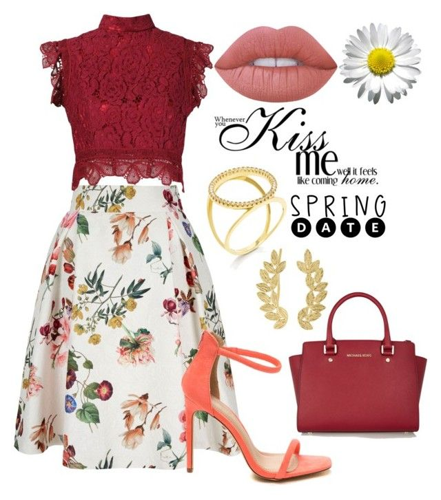 """Floral skirt"" by nataliavillegas ❤ liked on Polyvore featuring Yumi, Martha Medeiros, Lime Crime, MICHAEL Michael Kors, Eddera and Fallon"