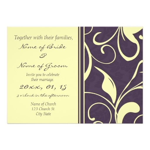 yellow purple floral elegant wedding invitations click on photo to purchase check out all current - Elegant Wedding Invites Coupon