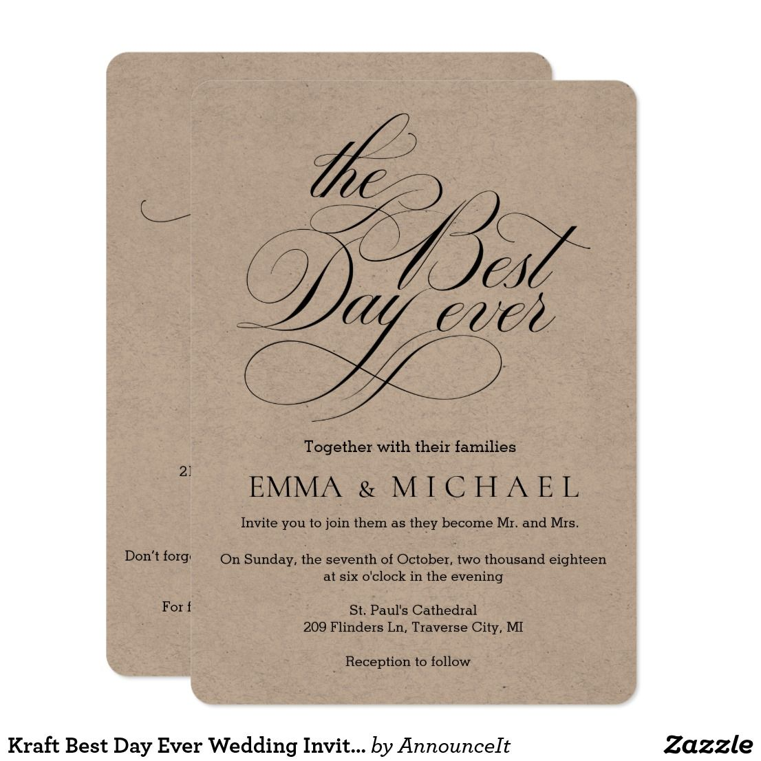 Kraft Best Day Ever Wedding Invitations