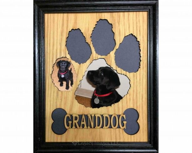 custom 8x10 dog paw print bone wooden picture mat frame personalized with dog granddog