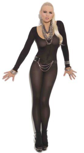 b2d5f6e43ca Elegant Moments Women s Opaque Long Sleeve Bodystocking with Open Crotch