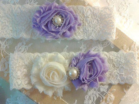 Wedding Garter, Bridal Garter Set, Lavender - Ivory Garter, Ivory Lace Garter Set, Keepsake - Toss Garter, Shabby Chiffon Pearl Garter, $22.00