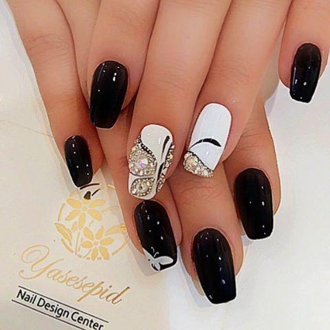 yasesepid24  butterfly bling nail art  bling nail art