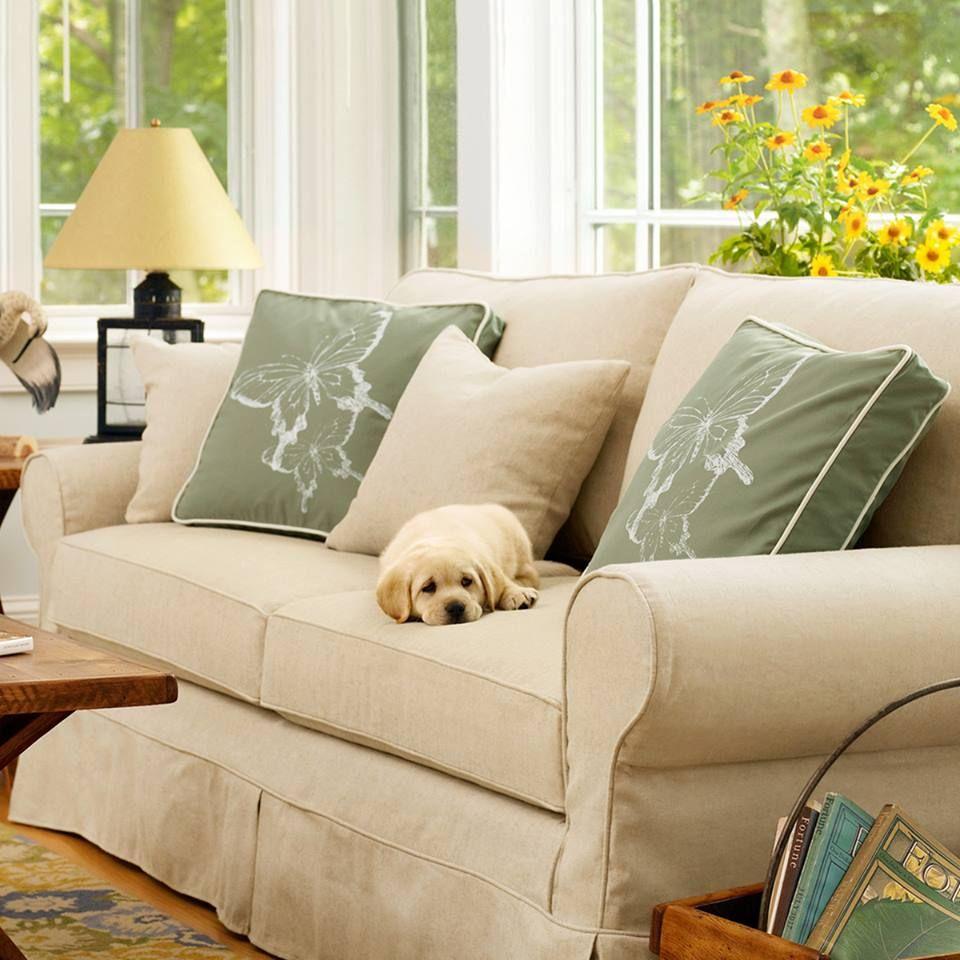 Pine Point Slipcovered Sofa Blue living room decor