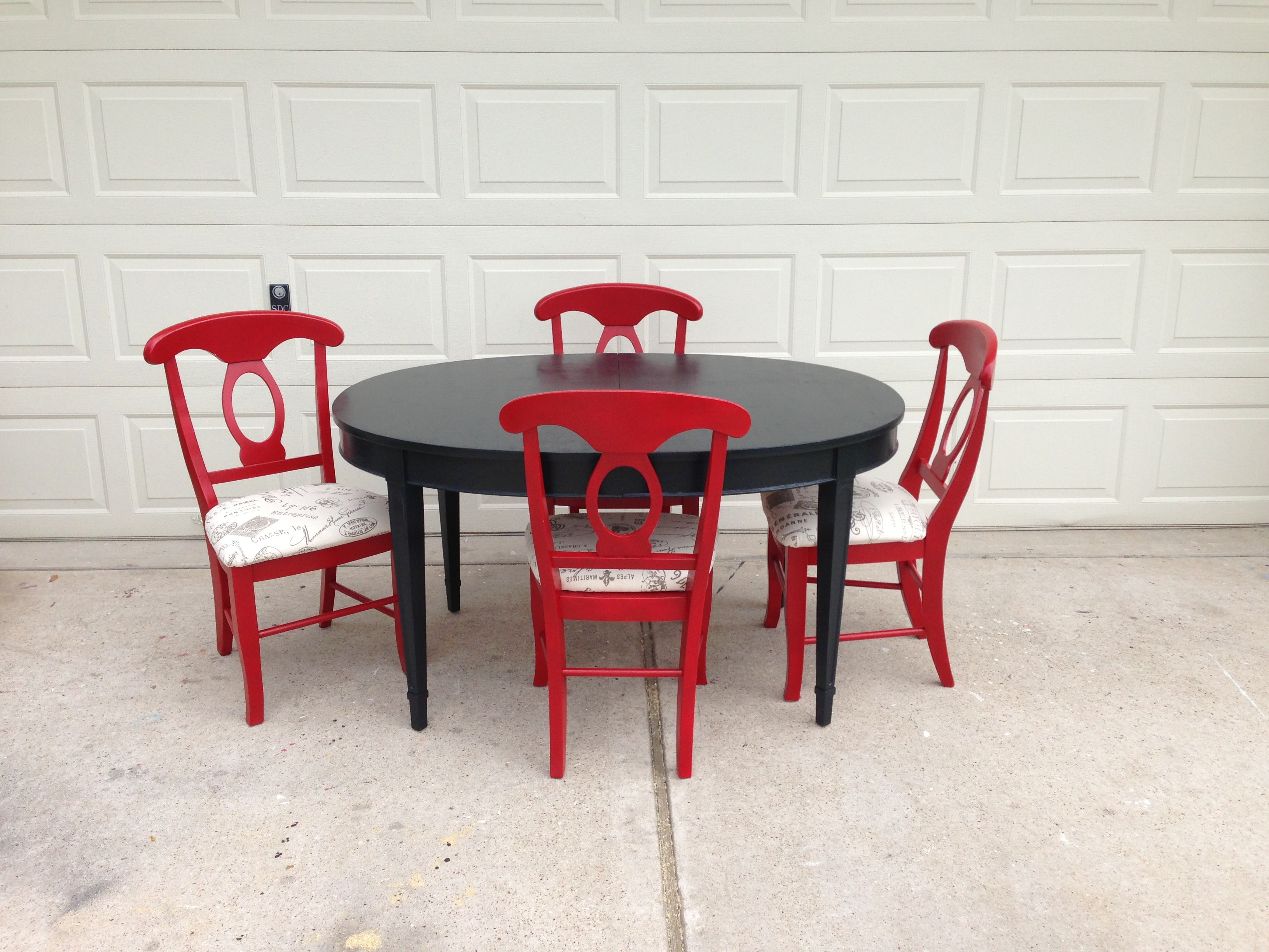 Red And Black Breakfast Table Chairs Kitchen Decor Dining Room Small