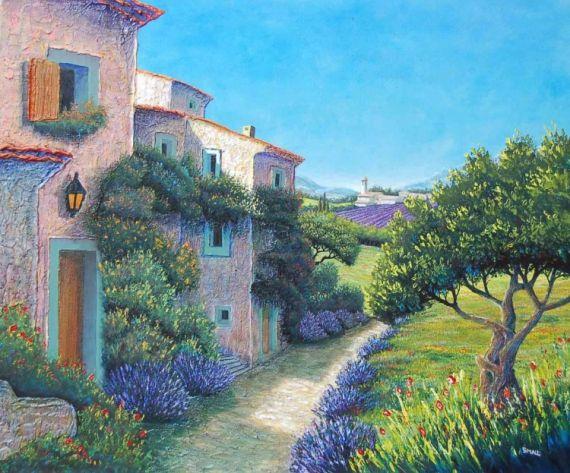 Tableau peinture provence paysage maison lavande paysages peinture a l 39 huile magie d 39 un chemin for Peintures maison