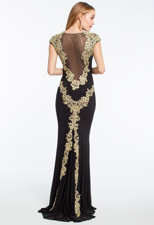 Gold Lace Appliques Cap Sleeve Dress from Camille La Vie and Group ...