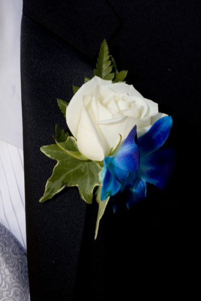 White Garden Rose Boutonniere white rose boutineers | white rose boutonniere with blue accent