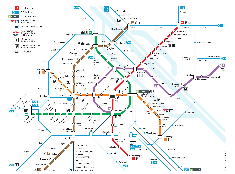Map Of Vienna Metro U Bahn Subway Tube Amp Underground