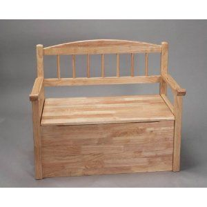 Gift Mark Natural Deacon Style Toy Box With Spindle Back And Arm