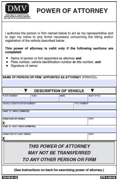 power of attorney form vehicle  Free #Oregon Power of Attorney forms (PDF). | Power of ...