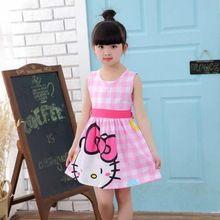 Kids In Summer 2017 New 100 Cotton Sleeveless Girl Dress Cartoon